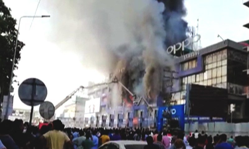 Hafeez Centre Lahore fire still not put out after 12 hours