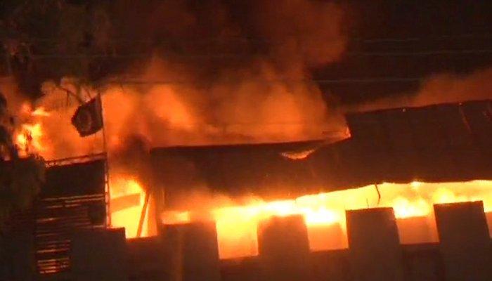 Fire gutted plastic factory in Karachi